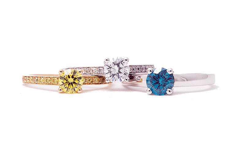 Trouwringn met kleurdiamanten